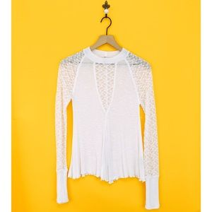 Free People White No Limits Lace Sleeve Top Small